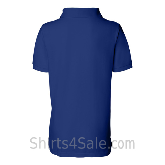 Blue Womens Pique Knit Sport Shirt back view