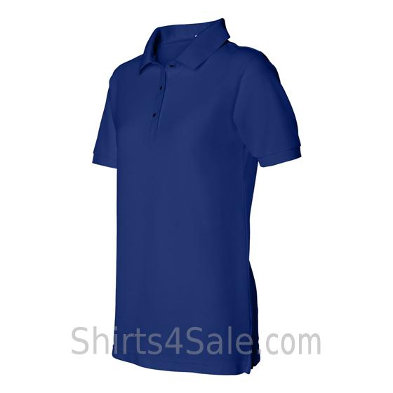 Blue Womens Pique Knit Sport Shirt side view