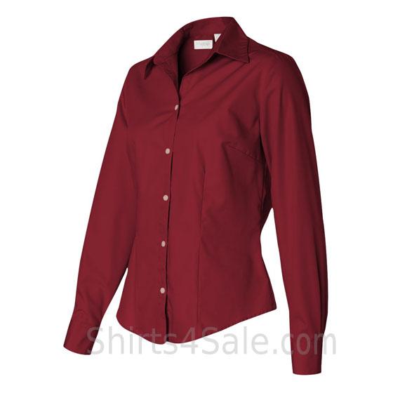 Cardinal Ladies Silky Poplin Dress Shirt side view