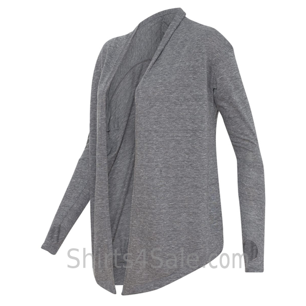 Eco Grey Ladies' Eco-Jersey Thumbs Up Wrap side view