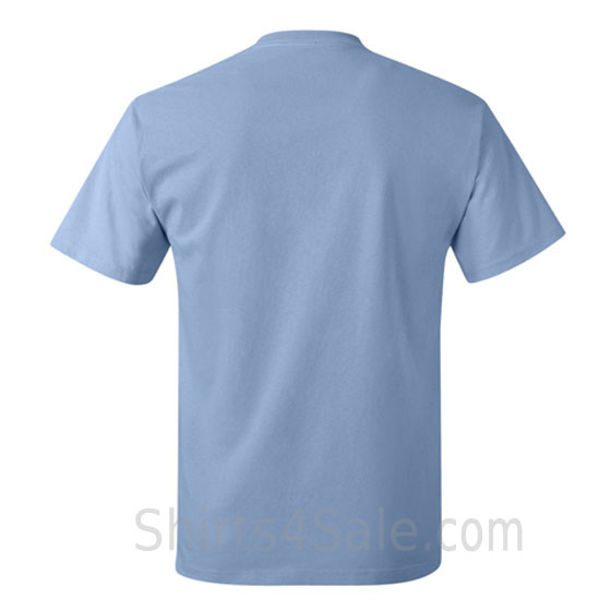light blue neck tag-free men's t shirt back view