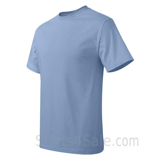 light blue neck tag-free men's t shirt side view