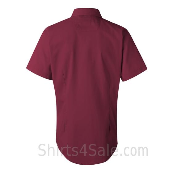 Maroon/Burgundy Women's Stain Resistant Short Sleeve Shirt back view