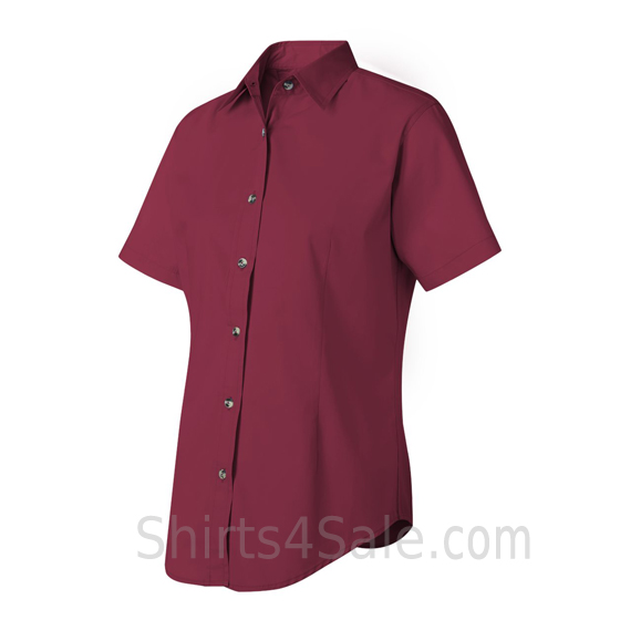 Maroon/Burgundy Women's Stain Resistant Short Sleeve Shirt side view