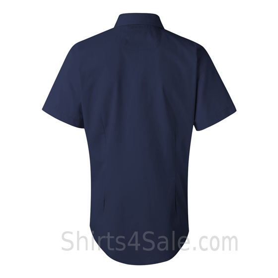 Navy Women's Stain Resistant Short Sleeve Shirt back view