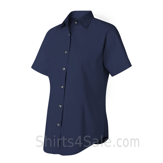 Navy Women's Stain Resistant Short Sleeve Shirt side view