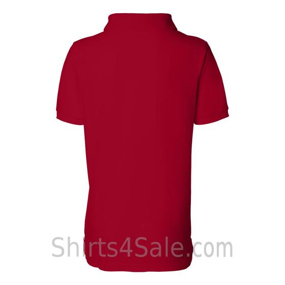 Red Womens Pique Knit Sport Shirt back view