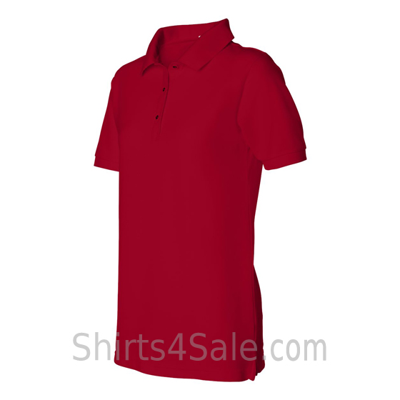 Red Womens Pique Knit Sport Shirt side view