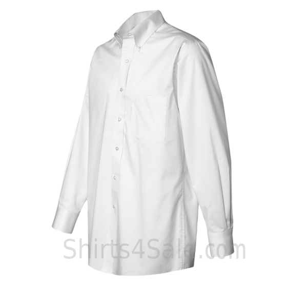 white long sleeve men's fashion twill dress shirt side view