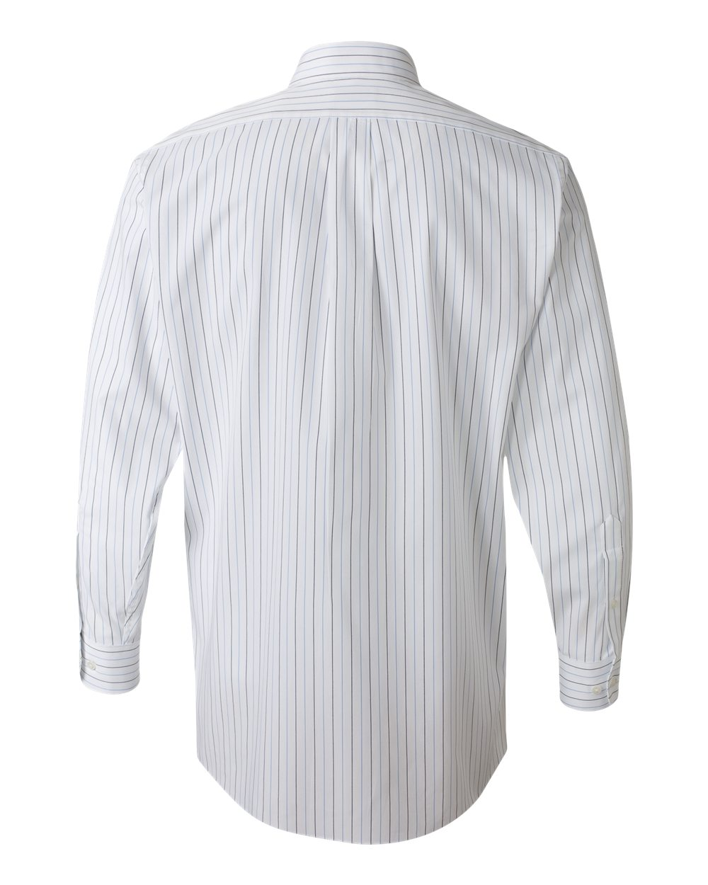 white with multi stripe pinpoint oxford dress shirt back view
