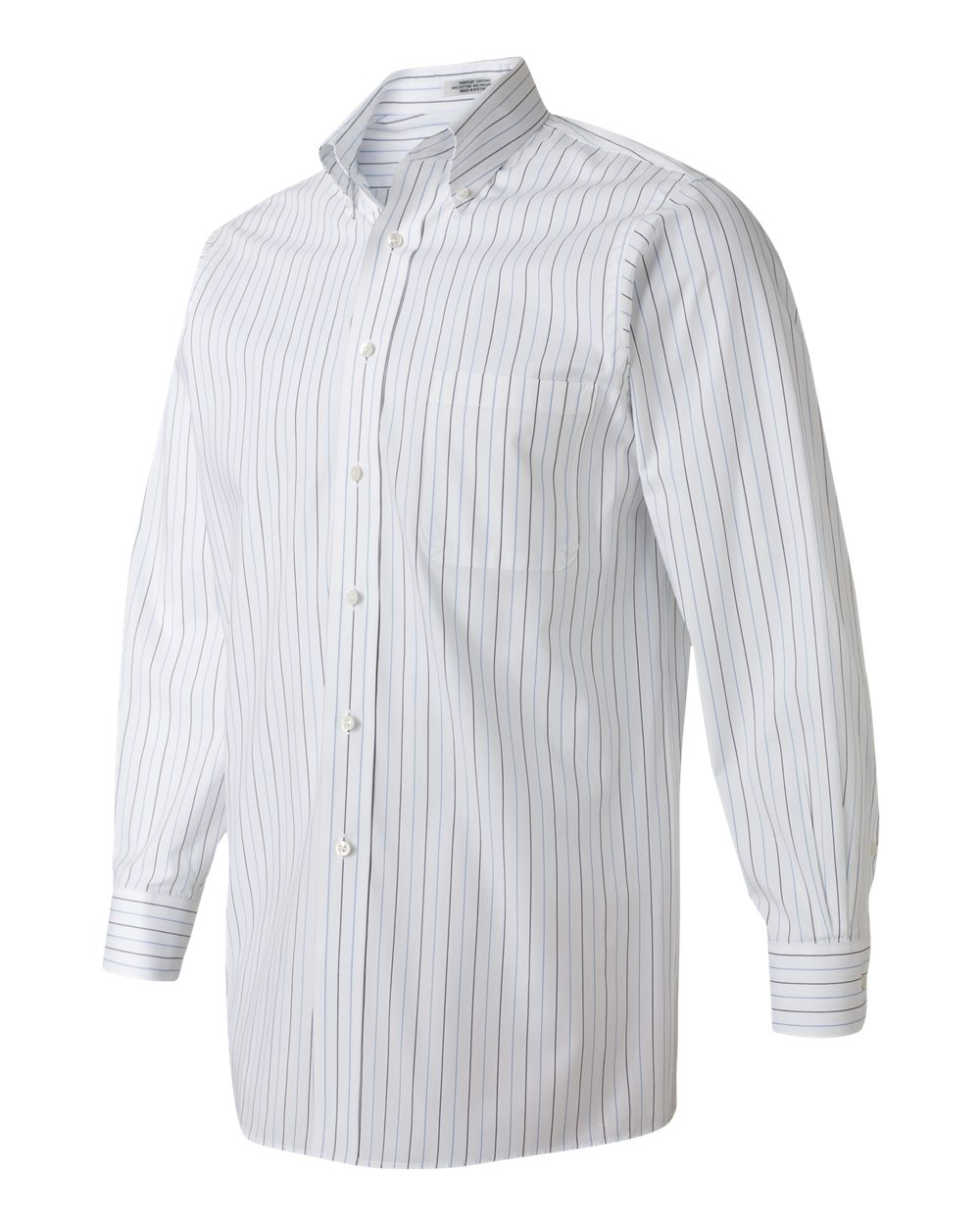 white with multi stripe pinpoint oxford dress shirt side view