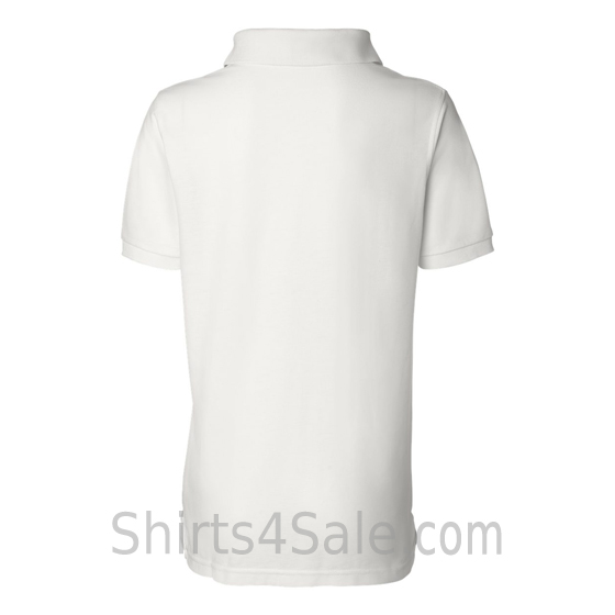 White Womens Pique Knit Sport Shirt back view