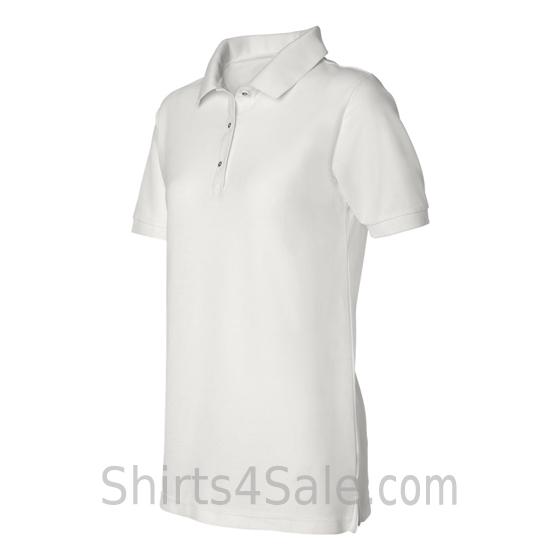 White Womens Pique Knit Sport Shirt side view