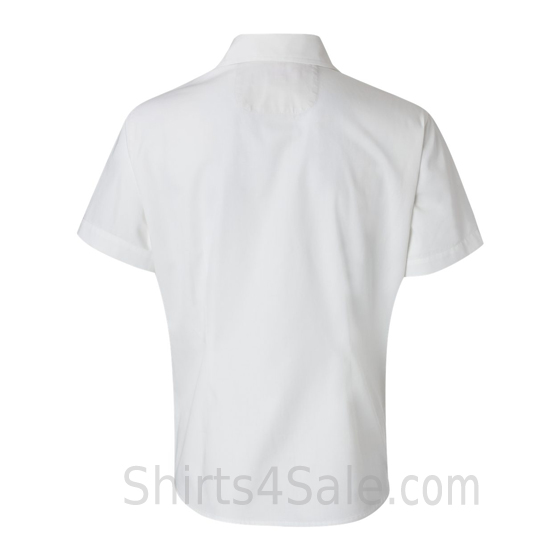 White Women's Stain Resistant Short Sleeve Shirt back view