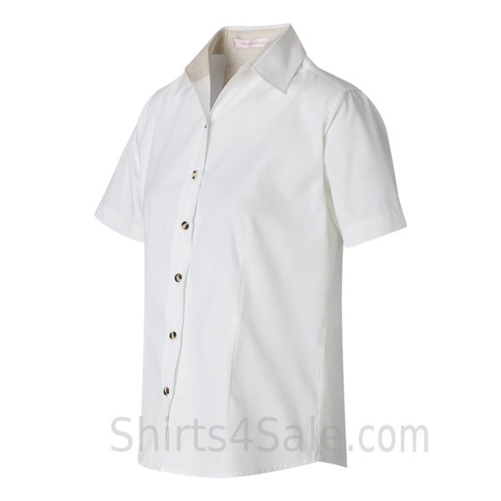 White Women's Stain Resistant Short Sleeve Shirt side view